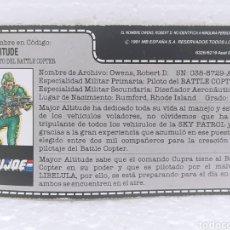 Figuras y Muñecos Gi Joe: GI JOE MAJOR ALTITUDE V.1 DE 1991. FILECARD EN ESPAÑOL. BATTLE COPTER PILOT. Lote 224757606