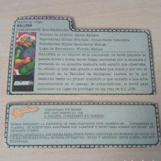 Figuras y Muñecos Gi Joe: FICHA GI JOE BALLENA. Lote 276971453
