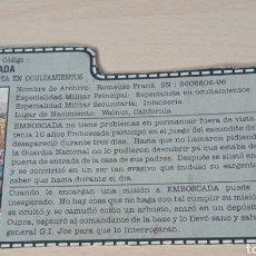 Figuras y Muñecos Gi Joe: FICHA GI JOE EMBOSCADA. Lote 279458133