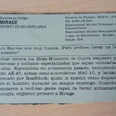 Figuras y Muñecos Gi Joe: FICHA GI JOE MIRAGE. Lote 279458678