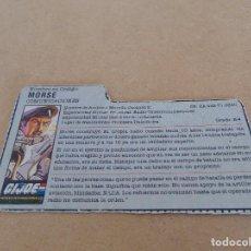 Figuras y Muñecos Gi Joe: FIGURA DE ACCION GIJOE GI JOE, COMPLEMENTO ,CARTON, FICHA ,TARJETA. Lote 289868748