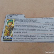 Figuras y Muñecos Gi Joe: FIGURA DE ACCION GIJOE GI JOE, COMPLEMENTO ,CARTON, FICHA ,TARJETA. Lote 289868783