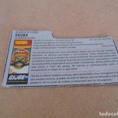 Figuras y Muñecos Gi Joe: FIGURA DE ACCION GIJOE GI JOE, COMPLEMENTO ,CARTON, FICHA ,TARJETA. Lote 289868898