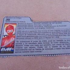 Figuras y Muñecos Gi Joe: FIGURA DE ACCION GIJOE GI JOE, COMPLEMENTO ,CARTON, FICHA ,TARJETA. Lote 289868963