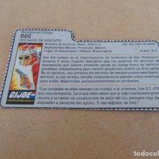 Figuras y Muñecos Gi Joe: FIGURA DE ACCION GIJOE GI JOE, COMPLEMENTO ,CARTON, FICHA ,TARJETA. Lote 289869053