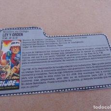 Figuras y Muñecos Gi Joe: FIGURA DE ACCION GIJOE GI JOE, COMPLEMENTO ,CARTON, FICHA ,TARJETA. Lote 289869368