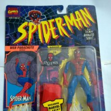 Figuras y Muñecos Marvel: SPIDERMAN ANIMATED PARACAIDISTA PARACHUTE FIGURA ENM BLISTER MARVEL TOY BIZ DIFICIL. Lote 49696132