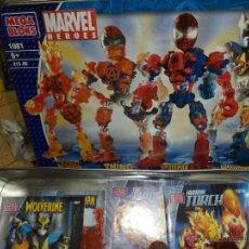 Figuras y Muñecos Marvel: MARVEL MEGA BLOKS .CAJA DE HOJALATA CON IRON MAN,SPIDERMAN,WOLVERINE Y LA COSA.REF.1981.2005.. Lote 49963025