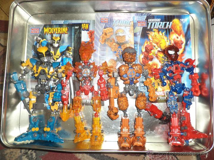 Figuras y Muñecos Marvel: Marvel Mega Bloks .Caja de hojalata con Iron Man,Spiderman,Wolverine y la Cosa.Ref.1981.2005. - Foto 2 - 49963025