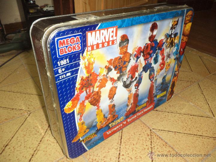 Figuras y Muñecos Marvel: Marvel Mega Bloks .Caja de hojalata con Iron Man,Spiderman,Wolverine y la Cosa.Ref.1981.2005. - Foto 7 - 49963025