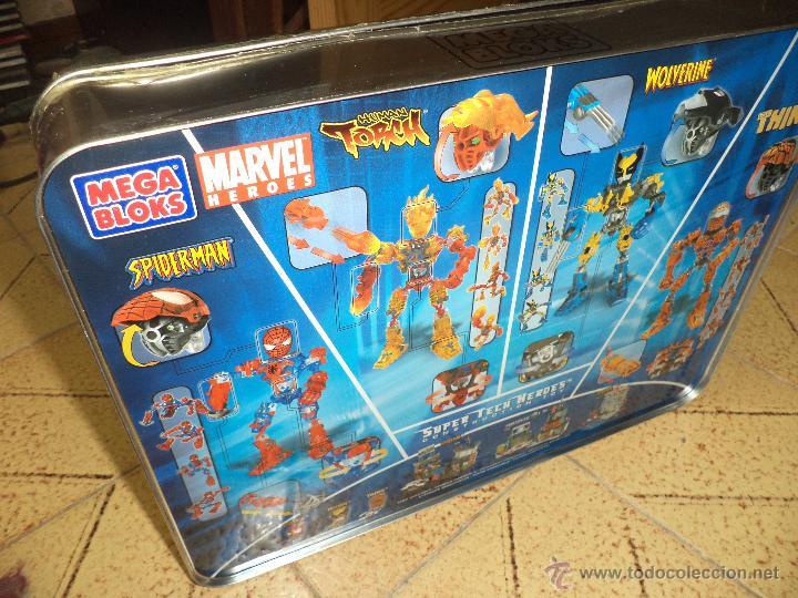 Figuras y Muñecos Marvel: Marvel Mega Bloks .Caja de hojalata con Iron Man,Spiderman,Wolverine y la Cosa.Ref.1981.2005. - Foto 8 - 49963025