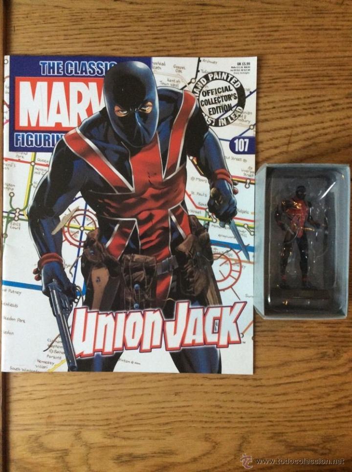 FIGURA PLOMO EAGLEMOSS 107 - MARVEL - UNION JACK - CON REVISTA Y CAJA (Juguetes - Figuras de Acción - Marvel)