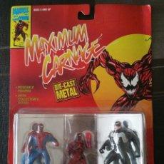 Figuras y Muñecos Marvel: FIGURAS METÁLICAS SPIDERMAN. MAXIMUM CARNAGE. VOLUMEN ÚNICO. TOY BIZ 1994. Lote 97417431