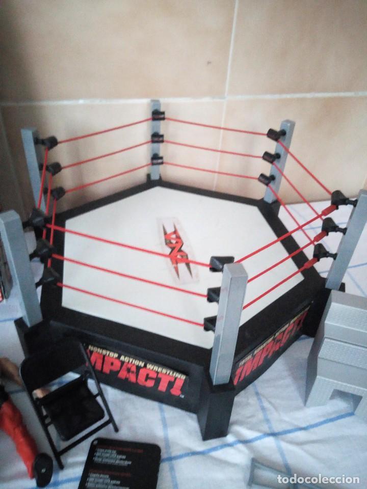 Figuras y Muñecos Marvel: TNA IMPACT ACTION WERSTLING 6 SIDED RING W/BONUS RED AJ STYLES FIGURA & X-DIVISION CHAMPIONSHIP BELT - Foto 5 - 120258987