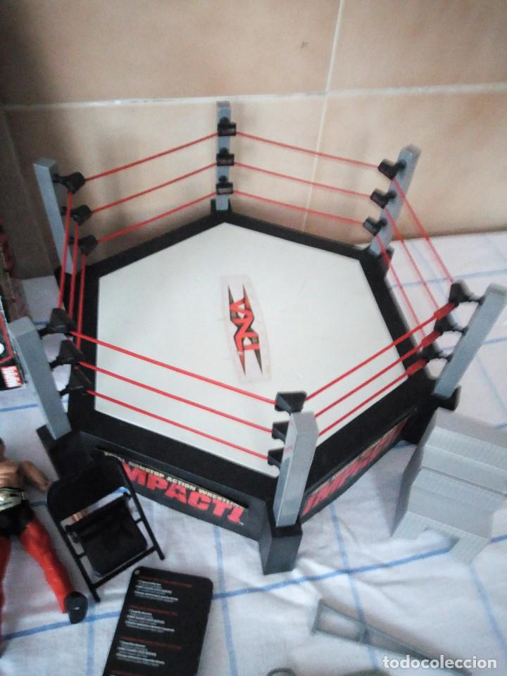 Figuras y Muñecos Marvel: TNA IMPACT ACTION WERSTLING 6 SIDED RING W/BONUS RED AJ STYLES FIGURA & X-DIVISION CHAMPIONSHIP BELT - Foto 6 - 120258987