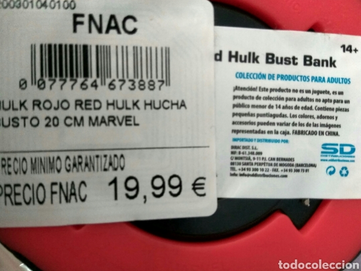 Figuras y Muñecos Marvel: Figura busto Red Hulk Marvel bank hucha nuevo - Foto 5 - 153746232