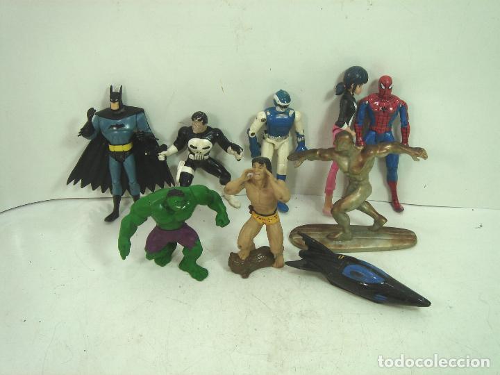 10X FIGURA ACCION GOMA PVC -SUPER HEROE MARVEL DC COMIC ERTL BATMAN SPIDERMAN SILVER HULK .. (Juguetes - Figuras de Acción - Marvel)