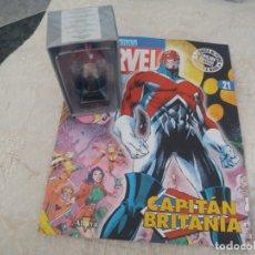 Figuras y Muñecos Marvel: MARVEL SUPER HEROES FIGURA PLOMO CAPITAN BRITANIA BLISTER CON FASCÍCULO N 21 ALTAYA. Lote 168303232