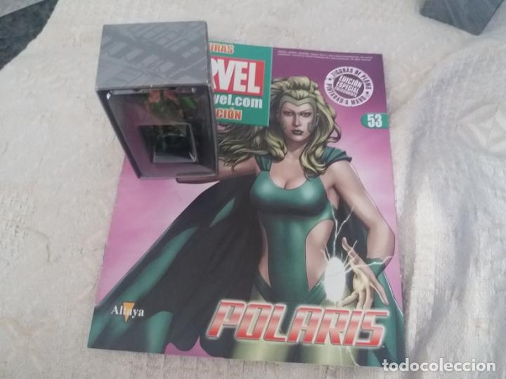 MARVEL SUPER HEROES FIGURA PLOMO POLARIS BLISTER CON FASCÍCULO N 53 ALTAYA (Juguetes - Figuras de Acción - Marvel)