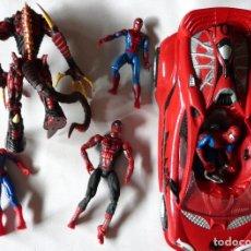 Figuras y Muñecos Marvel: LOTE DE 5 FIGURAS SPIDERMAN Y COCHE -MARVEL - HOMBRE ARAÑA. Lote 175360768