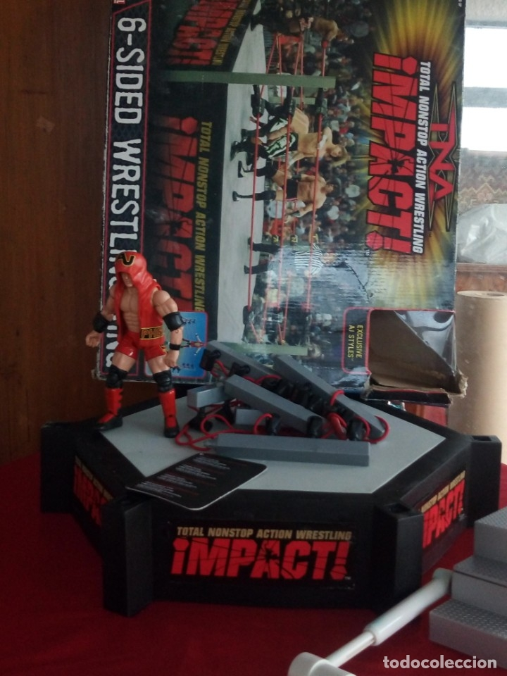 Figuras y Muñecos Marvel: TNA IMPACT ACTION WERSTLING 6 SIDED RING W/BONUS RED AJ STYLES FIGURA & X-DIVISION CHAMPIONSHIP BELT - Foto 7 - 120258987
