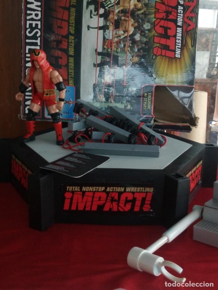 Figuras y Muñecos Marvel: TNA IMPACT ACTION WERSTLING 6 SIDED RING W/BONUS RED AJ STYLES FIGURA & X-DIVISION CHAMPIONSHIP BELT - Foto 8 - 120258987