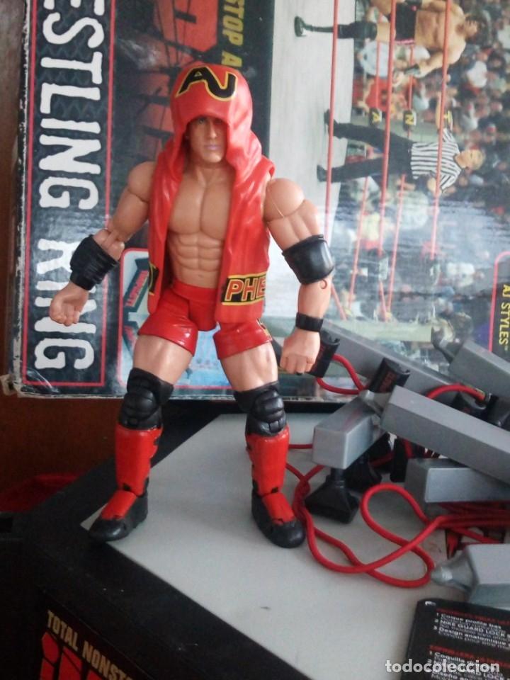 Figuras y Muñecos Marvel: TNA IMPACT ACTION WERSTLING 6 SIDED RING W/BONUS RED AJ STYLES FIGURA & X-DIVISION CHAMPIONSHIP BELT - Foto 9 - 120258987