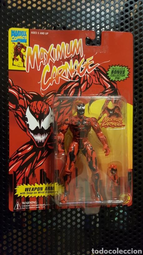 FIGURA - MAXIMUM CARNAGE ACTION FIGURE - TOY BIZ - CON PIN EXCLUSIVO - DE 1994 (Juguetes - Figuras de Acción - Marvel)