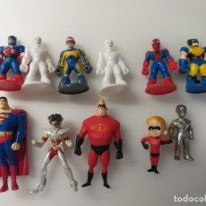 Figuras y Muñecos Marvel: LOTE 11 MINI MUÑECOS MARVEL DC DRAGON BALL DISNEY SAINT SEIYA SPIDERMAN SUPERMAN. Lote 179106167