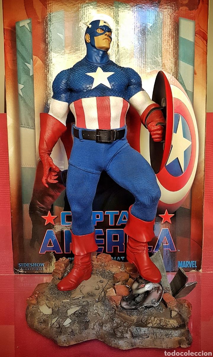 ESTATUA MARVEL DEL CAPITAN AMERICA PREMIUM FORMAT FIGURE SIDESHOW. (Juguetes - Figuras de Acción - Marvel)