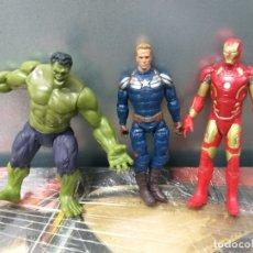 Figuras y Muñecos Marvel: LOTE 3 FIGURAS MARVEL VENGADORES HULK CAPITAN AMERICA STEVE ROGERS IRON MAN. Lote 182330423
