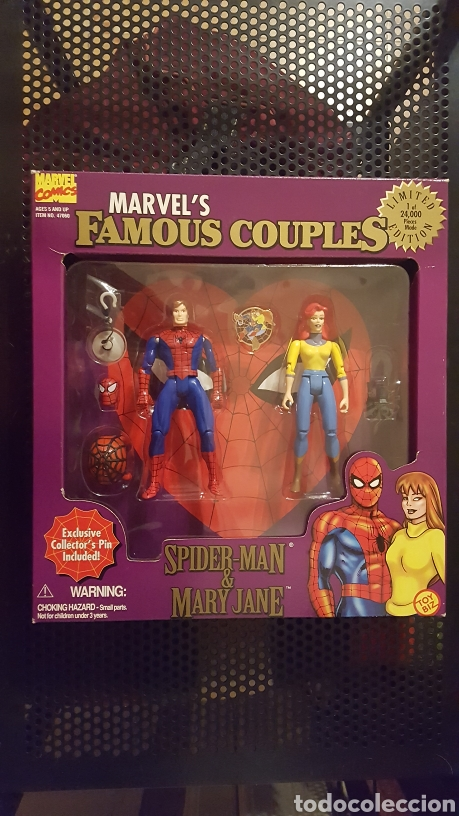 FIGURAS - SPIDER-MAN (SPIDERMAN) & MARY JANE - FAMOUS COUPLES - TOY BIZ - 1996 (Juguetes - Figuras de Acción - Marvel)