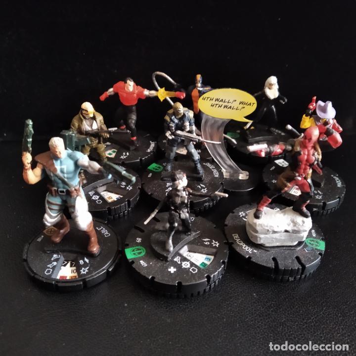 LOTE 10 FIGURAS HEROCLIX MASACRE: DEADPOOL, CABLE, DOMINO, GATA NEGRA, CONSTRICTOR, ARMA X... (Juguetes - Figuras de Acción - Marvel)