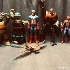 Figuras y Muñecos Marvel: LOTE MUÑECOS PLAYMATES TORTUGAS NINJA 2012 DRAGON SPIDERMAN HASBRO CAPITAN AMERICA 2013 CYBRO MATTEL. Lote 205141431