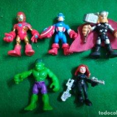 Figuras e Bonecos Marvel: MARVEL SUPER HERO SQUAD , VENGADORES , IRON MAN , CAPITÁN AMERICA , THOR , HULK , VIUDA NEGRA. Lote 210319223