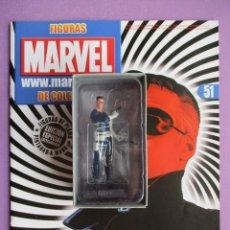 Figuras y Muñecos Marvel: FIGURA DE PLOMO MARVEL NICK FURIA Nº 51, CON CAJA Y REVISTA , ALTAYA. Lote 227670122