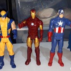 Figuras y Muñecos Marvel: LOTE 4 FIGURAS MARVEL Y DC IRON MAN WOLWERINE CAPITAN AMERICA Y BATMAN LEER DESCRIPCION. Lote 235467160