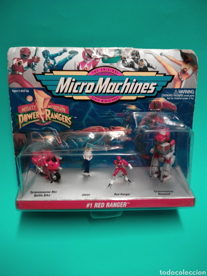 MICRO MACHINES POWER RANGERS #1 RED RANGER TYRANNOSAURUS GALOOB 74700 MICROMACHINES BLISTER FAMOSA (Juguetes - Figuras de Acción - Power Rangers)