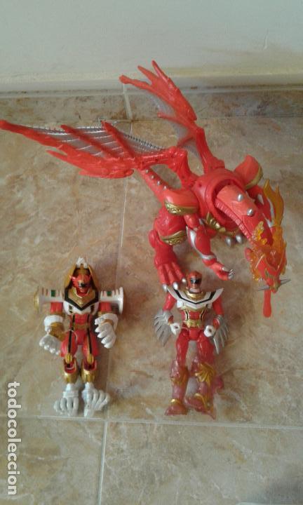 LOTE POWER RANGERS, DRAGON RED XTREM MYSTIC FORCE Y DOS FIGURAS, LEGENDARY LION Y LEGENDARY PHOENIX (Juguetes - Figuras de Acción - Power Rangers)