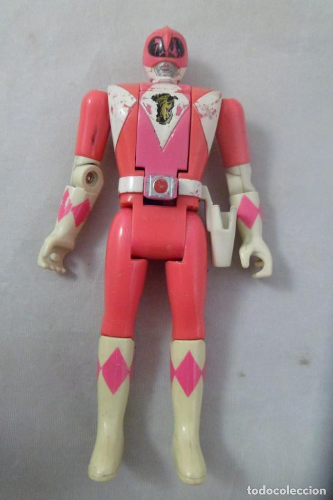 MUÑECO POWER RANGER ROSA ARTICULADO. CABEZA MOVIBLE. BANDAI. 1993 (Juguetes - Figuras de Acción - Power Rangers)