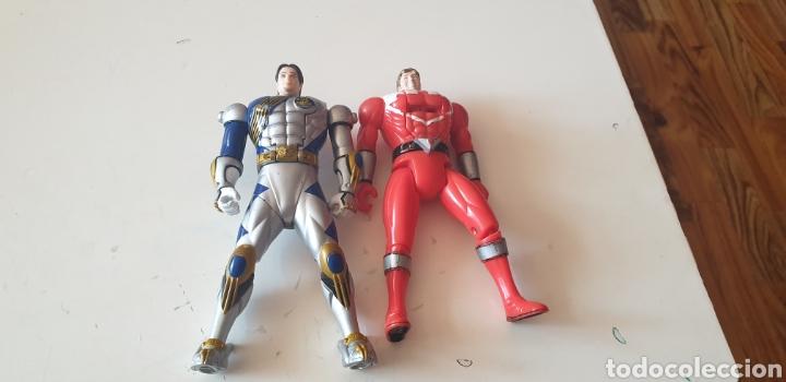 LOTE 2 POWER RANGERS CABEZA REVERSIBLE BANDAI 2001 (Juguetes - Figuras de Acción - Power Rangers)
