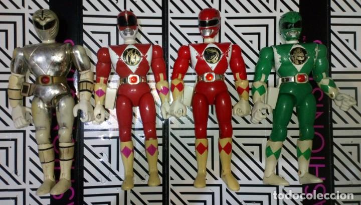 LOTE DE 4 FIGURAS POWER RANGERS CON DEFECTOS, PARA PIEZAS O REPARAR (Juguetes - Figuras de Acción - Power Rangers)
