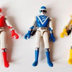 Figurines et Jouets Power Rangers: LOTE 3 FIGURAS BIOMAN: ROJO, AMARILLO Y AZUL (BANDAI, TOEI, TF1) 1988. Lote 291041418
