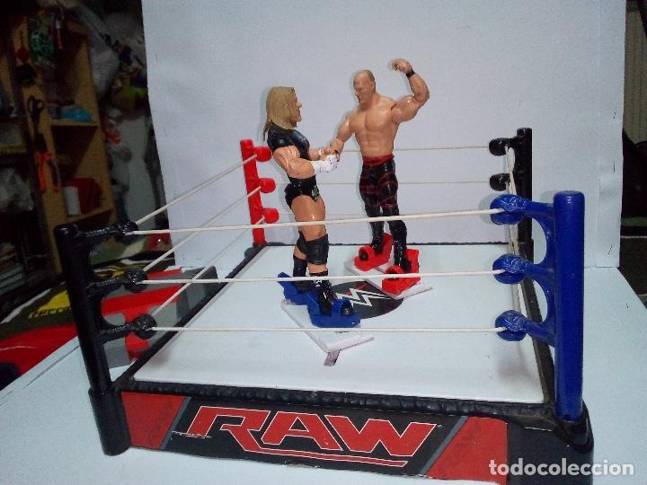-RING WWE RAW SMACKDOWN PRESSINNG CATCH-C0N MOVIMIENTO-CON LANZADOR Y DOS FIGURAS MATTEL 2014 (Juguetes - Figuras de Acción - Pressing Catch)