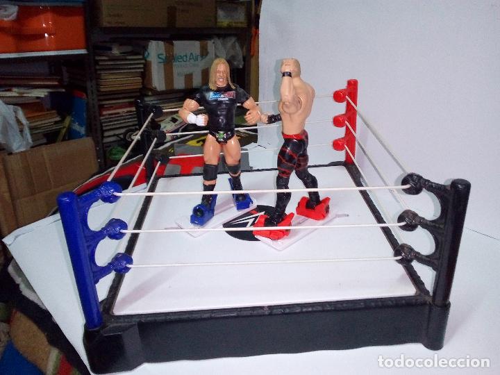 Figuras y Muñecos Pressing Catch: -RING WWE RAW SMACKDOWN PRESSINNG CATCH-C0N MOVIMIENTO-CON LANZADOR Y DOS FIGURAS MATTEL 2014 - Foto 2 - 143650394