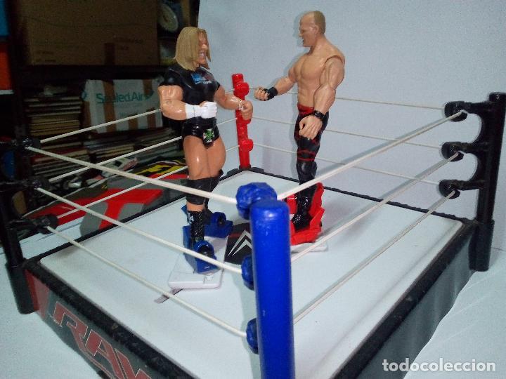 Figuras y Muñecos Pressing Catch: -RING WWE RAW SMACKDOWN PRESSINNG CATCH-C0N MOVIMIENTO-CON LANZADOR Y DOS FIGURAS MATTEL 2014 - Foto 6 - 143650394