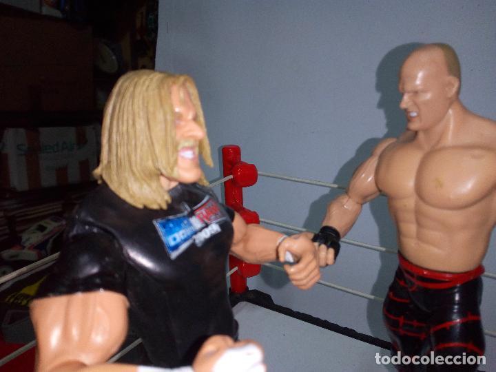 Figuras y Muñecos Pressing Catch: -RING WWE RAW SMACKDOWN PRESSINNG CATCH-C0N MOVIMIENTO-CON LANZADOR Y DOS FIGURAS MATTEL 2014 - Foto 10 - 143650394