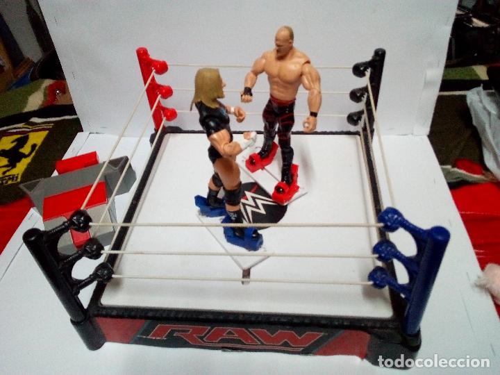 Figuras y Muñecos Pressing Catch: -RING WWE RAW SMACKDOWN PRESSINNG CATCH-C0N MOVIMIENTO-CON LANZADOR Y DOS FIGURAS MATTEL 2014 - Foto 11 - 143650394