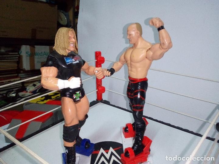 Figuras y Muñecos Pressing Catch: -RING WWE RAW SMACKDOWN PRESSINNG CATCH-C0N MOVIMIENTO-CON LANZADOR Y DOS FIGURAS MATTEL 2014 - Foto 13 - 143650394