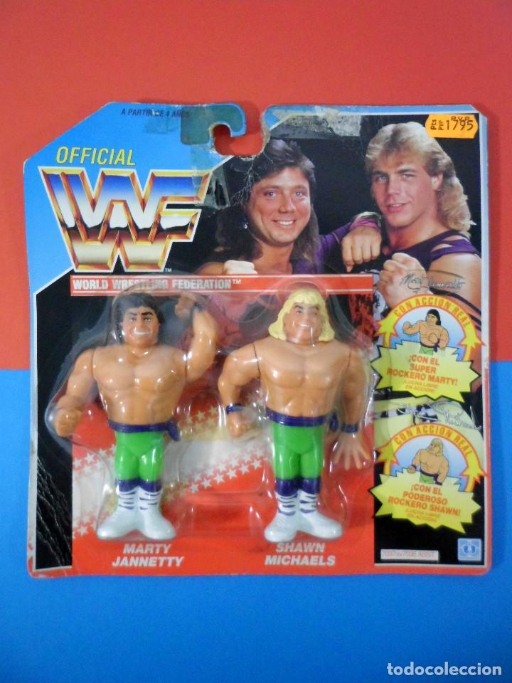 FIGURAS WWF MARTI JANNETY Y SHAWN MICHAELS - ROCKEROS (Juguetes - Figuras de Acción - Pressing Catch)
